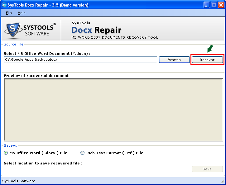 Repair Word 2007 DOCX File