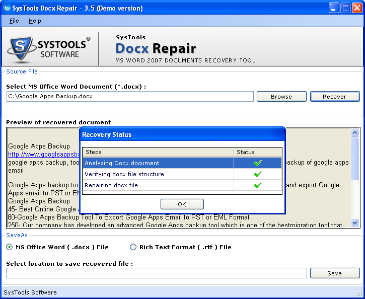 Try Free Corrupt DOCX Recovery Tool